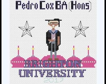 Custom Graduation Cross Stitch Pattern,Graduation Gift, University Pattern, Custom Degree Cross Stitch Pattern, Sewing Project, Tutorial.