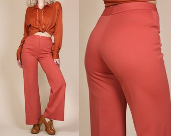 70s Flared Pants - Small // Vintage High Waisted Retro Disco Trousers