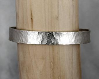 Hammered Argentium Silver Cuff