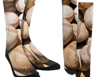 Baseball Galore Crew Socks - Baseball Socks - Unique Socks - Novelty Socks - Cool Socks - 100% Comfort - FREE Shipping