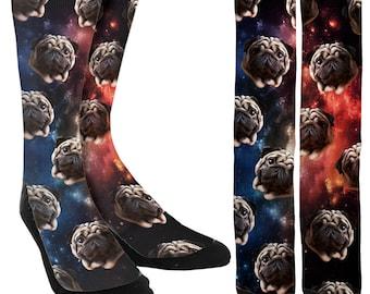 Pugs in Space Crew Socks - Space Socks - Funny Socks - Crazy Socks - Unique Socks-Novelty Socks -Cool Socks-100% Comfort - FREE Shipping B93