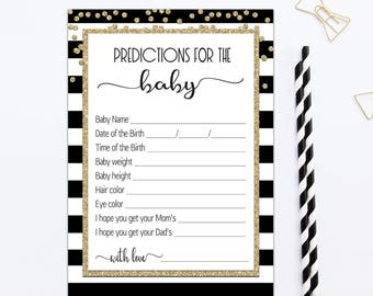 BABY PREDICTION CARDS Black Gold, predictions for baby printable, baby prediction game, baby shower baby prediction cards gender neutral BL1