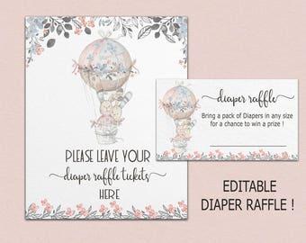 DIAPER RAFFLE TICKET Printable, diaper raffle cards instant download, diaper raffle template, hot air balloon baby shower editable pdf B26