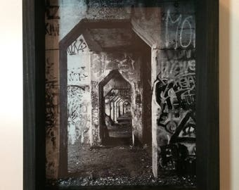 Philadelphia Graffiti Pier Photograph with shadow box frame