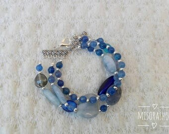 Agate bracelet, Blue agate bracelet, multiwire bracelet, big bracelet, gemstone bracelet, elegant bracelet, blue bracelet,
