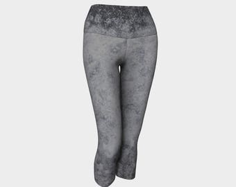 Modern Industrial Neutral Grey Yoga Capris - Urban Jungle