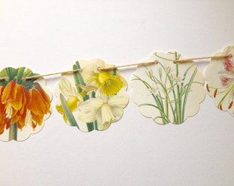 Spring Flower Garland, Botanical Bunting, Summer Garland, Floral Garland, Paper Garland, Recycled, Upcycled Home Decor, Spring Bunting, Eco