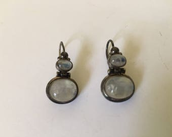 Beautiful vintage sterling silver moonstone dangle earrings marked .925, signed NB, India