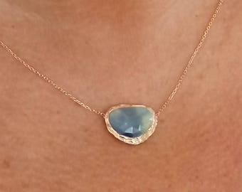 Sapphire Necklace 8 Karat Solid Rose Gold