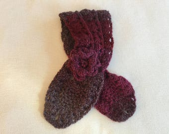 Red Gray Hand Crocheted Scarf