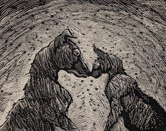 Original Wood Engraving titled Loved One