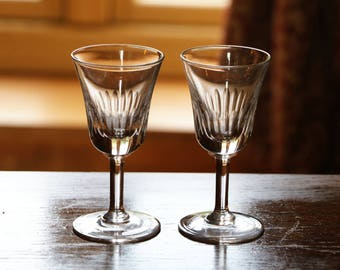 Two antique sherry glasses; c1910; antique sherry glasses; Edwardian sherry glasses antique port glasses; drinks glasses; wine glasses; C10