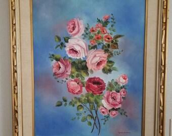 Signed by Linda Clemons - Estate Floral Painting Set.