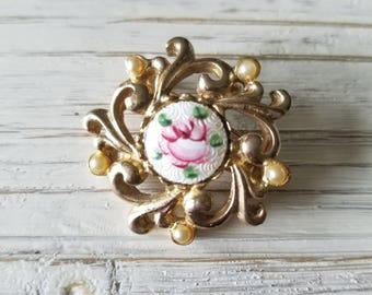 Estate Victorian Styled Hand-Painted Rose and Seed Pearl Brooch and/or Pendant.