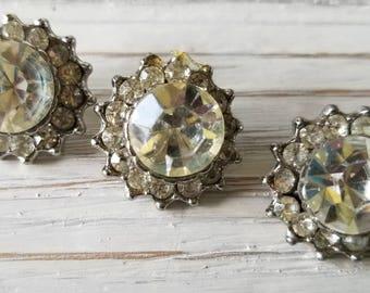 Three Vintage Rhinestone Buttons