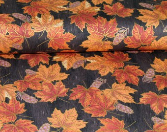 Gold Print leaves 100% Cotton Fabric Black