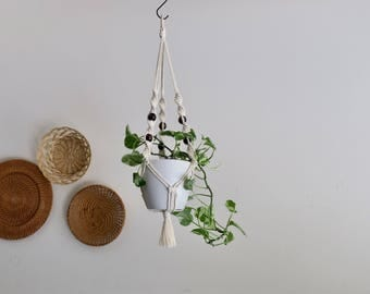 CHARITY DONATION Classic Twisted Plant Hanger with Wooden Beads