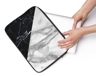Black & White Tangram Marble Laptop Sleeve - Personalized Laptop Sleeve for Macbook Air, Macbook Pro, other Laptops