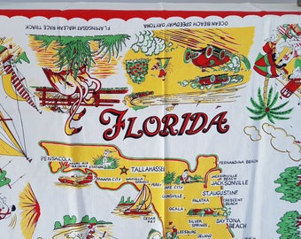 Vintage Florida 50s Tablecloth / State Map Landmarks United States USA / Trip Souvenir Gift Palm Beach Cottage Flamingos