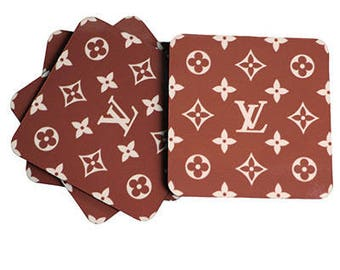 Set of 4 Louis Vuitton Inspired Brown Classic Monogram Coasters