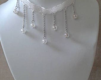 """white lace Ribbon and pearls"" Choker necklace"