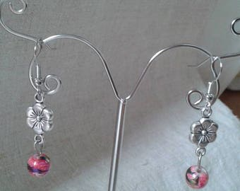 Pearl and Silver Flower Earrings