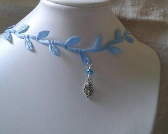 """blue leaf Ribbon"" Choker necklace"