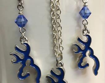 Swarovski Sapphire Bicone, Blue Browning Deer Earrings & Necklace