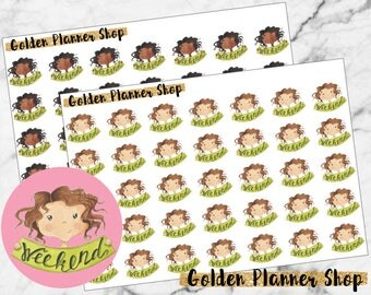 Weekend Character Planner Stickers - Sophie and Amanda