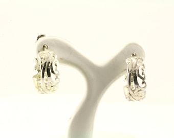 Vintage Scroll Hoop Earrings 925 Sterling ER 320-E