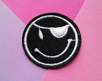Pirate Emoji Iron On Patch/Clothing Patch/Funny Patches/Applique/Embroidered Patch/Jacket Patch