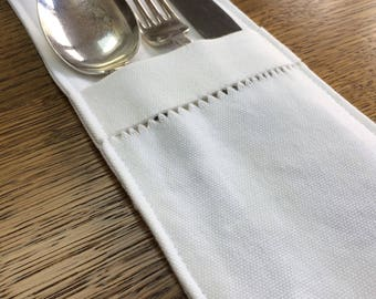 Hemstitched Cutlery Pocket - set of 4