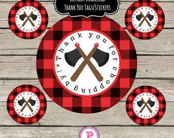 Lumberjack Birthday Party Circle Favor Tags Stickers Printable Instant Download 2.5 inch Thank You for chopping by First Birthday Plaid