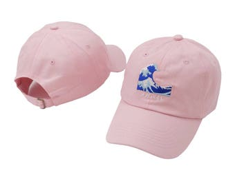 Pink japanese wavy waves baseball cap
