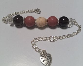 Bracelet stress & Wellness: Howlite, rhodonite, smoky quartz and rock crystal