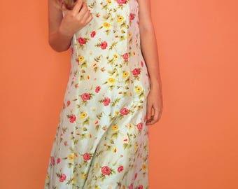 Floral silk dress, vintage dress, vintage 70s dress