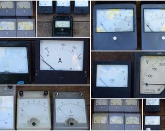 Large lot! 30 items. Vintage. Ammeter, Voltmeter, Milliammeter, Wattmeter, Steampunk decor, Loft decor, USSR 1950s-80s, DISCOUNTS