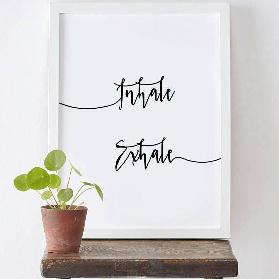 Inhale Exhale Home Decor Print Yoga Wall