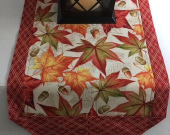 "Fall and Thanksgiving Table Runner, 12"" x 43"", Reversible Fall Autumn table topper"