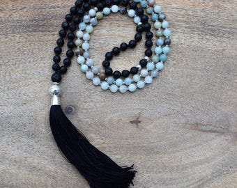 Amazonite / Lava Stone / 108 Bead Mala / Yoga / Spiritual Jewelry / Healing Gemstone / Tassel Necklace / Hill Tribe Silver / Sterling Silver