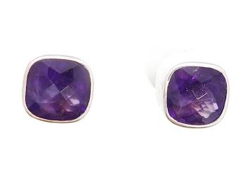 Sterling Silver handmade Amethyst stud earrings