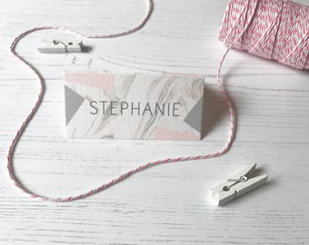 Geometric Marble Place Cards - Pink & Grey Wedding Name Cards  - Reception Table Decor