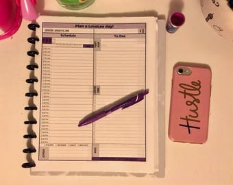 Color Customizable Agenda, To-Do List, Journal Printable Planner Insert Pages with Two-Page Monthly Spread