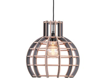 Wooden lamp/hanging lamp ' Globe semi-grey ' of the Lingehof