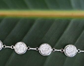 Sparkling Silver Faux Druzy Bracelet