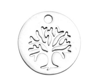 10Pcs Stainless steel Hollow Tree Charms, Tree of Life Charms Pendants Round Tree Charm, Leaf Charm Pendant