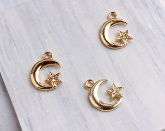10Pcs Gold Moon and Star Charms ,Half Moon with Crystal Stars Charms Pendants 13*17MM