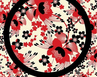 fabric patchwork red and white - Moon Flowers by Kanvas - Revedepatch Japanese