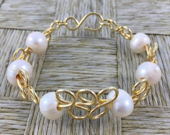 Handmade Woven Copper Strings Platted in 18k Gold Bracelet with Natural Pearls