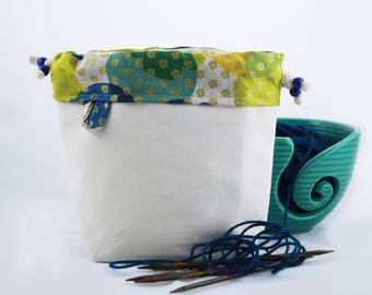 Cream-blue-gold project bag with drawstring, for knitting or crochet